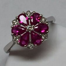 Beautiful 2.5ct Ruby White Sapphire 925 Solid Sterling Silver Flower Ring sz 9