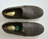 Michael Kors MK Logo Printed Keaton Slip On Sneakers Women's Shoes Brown Sz 8.5