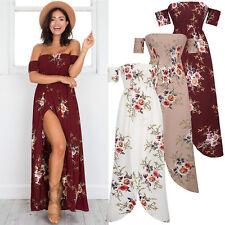 UK Split Womens Holiday Short Sleeve Ladies Maxi Long Summer Print Beach Dress