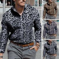 Men's Leopard Print Shirt Long Sleeve Casual Loose T-shirt Blouse Hippy Tops Tee