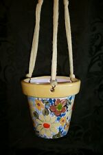 Flower Power Little usable Pot - 4 inch Hand painted Hanging Flower Pot Daisy