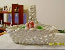 LANZARIN HAND MADE in ITALY TWISTED CERAMIC WOVEN BASKET FLORAL ACCENT