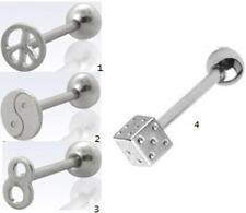 4 Designs x Surgical Steel Logo Tongue bars - Ying Yang, Peace, #8, Dice - UK