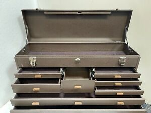 KENNEDY 526 TOP MACHINISTS TOOL BOX HINGED LID 8 FELT LINED DRAWERS CLEAN UNIT!!