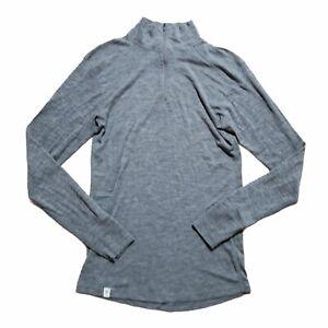 IBEX Men's XL 100% New Zealand Merino Wool 1/4 Zip Gray Pullover Sweater Quarter