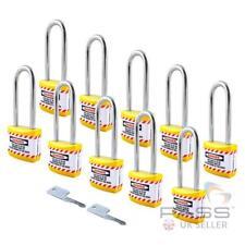 Lockout Long Shackle Jacket Padlocks - Keyed Alike (Yellow) Pack of 10
