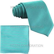 New Men's Formal stripes polyester Neck Ties & Hankie set turquoise wedding
