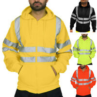 Hi Viz Kapuze Sicherheit Sweatshirt Herren Sichtbarkeit Arbeitskleidung Pullover