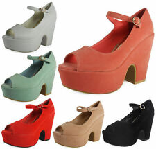 Wedge Peep Toes Patternless Faux Suede Upper Heels for Women