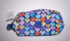 Kipling Walan large cosmetic case accessory bag Festive Beauty hearts print NWT