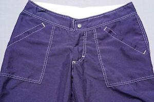 Prana Lightweight Nylon Crop Hiking Pants. White Stitched Navy Blue, Women's S.