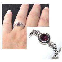 Bague fine chaine chainette acier (coul argent ) cristal bordeaux 48 au 66 bijou