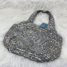 Frankie & Johnnie Silver Crochet Sequin Bag Dressy Boho Bucket Holiday Party NWT