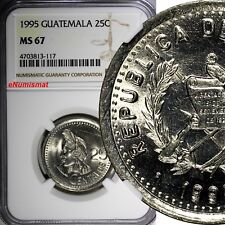 Guatemala Copper-Nickel 1995 25 Centavos NGC MS67 TOP GRADED BY NGC KM# 278.5