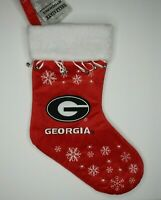 New Georgia Bulldogs Red Christmas Stocking UGA Bulldog Bells Full Size