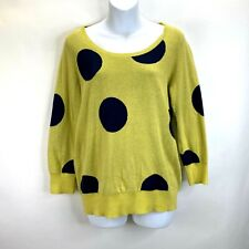 Anthropologie HWR Green Blue Polka Dot Pullover Sweater Womens Size L