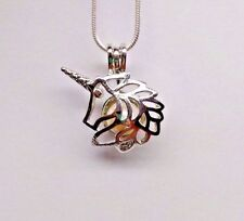 Make a Wish Pearl Cage Pendant Necklace - Unicorn - 925 Chain+Pearl Included