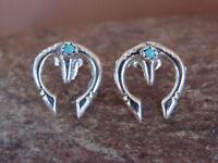 Navajo Indian Turquoise Sterling Silver Cast Naja Post  Earrings - Bitsie