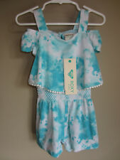 NWT Baby Girls ROXY Surf Tie Dye ROMPER Shorts Outfit Set Toddler 24 Months Blue