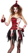 Ladies Sexy Zombie Jester Clown Halloween Circus Fancy Dress Costume Outfit