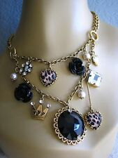 BETSEY JOHNSON VINTAGE BLACK ROSE LEOPARD HEART LOCKET CROWN CHARM NECKLACE~RARE