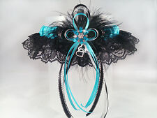 Gorgeous Turquoise Satin Black Lace and Silver Gems GARTER  Prom Wedding Bridal