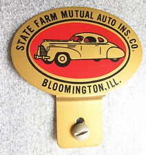 old heavy tin litho license plate topper sign advertising State Farm Insurance