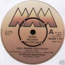 """CHARLES AZNAVOUR~I WILL WARM YOUR HEART / HAPPY DAYS~1978 UK """"DEMO"""" 7"""" SINGLE"""