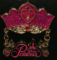 Disney Princess Dangle Crown Tiara Glitter Pin NEW ON ORIGINAL CARD