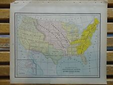 Nice colored map with territorial growth of the Us. Cram's Atlas of the World.