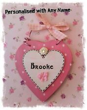 Personalised Girls Bedroom Door Sign - Pink Heart Polka Dot Handmade Name Plaque