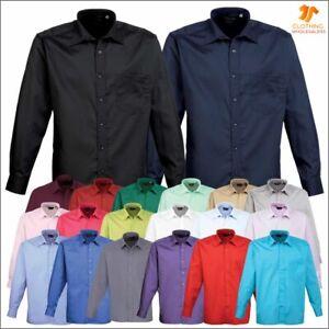 Premier Mens Poplin Shirt Classic Stylish Long Sleeve Office Work Formal Shirts