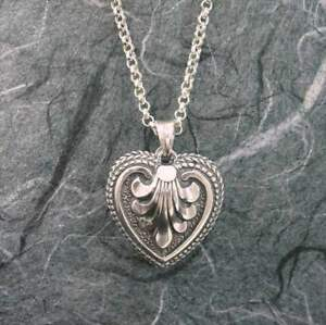 Victorian Ornate Heart Locket Sterling Silver by Michael Bromberg