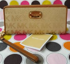 Michael Kors Jet Set Fabric Travel Continental Zip Wristlet/Wallet in Camel.
