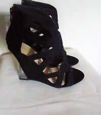 ShoeDazzle Black Faux Suede Acrylic Wedge Heel Open Toe Shoes 6M