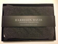NWT Harrison Davis Men's 100% Cashmere Scarf, gray, new in gift box one size