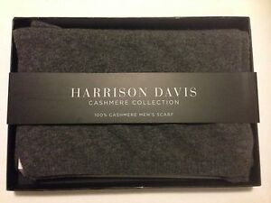 NWT Harrison Davis Men's 100% Cashmere Scarf, gray