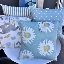 "CUSHION COVER DUCK EGG BLUE DAISY FLOWERS FLORAL 16"" COUNTRY SCANDI SPRING RETRO"