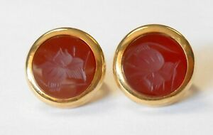 Signed AND Italy 14K Yellow Gold Intaglio Cut Face Carnelian Omega Back Earrings
