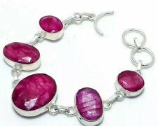 18cm 925 Sterling Silver Plated Faceted Cabochon Kashmir Ruby Bracelet 25 Grams