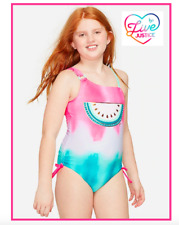 *NWT* JUSTICE GIRLS 7 8 10 12 WATERMELON TIE DYE COLOR CHANGING 1PC SWIMSUIT