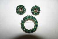 Beautiful Vintage Signed WEISS Green Rhinestone Brooch & Earrings Set