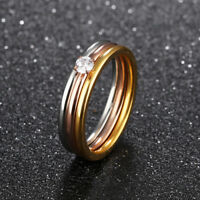 3 in 1 CZ Silver Yellow/Rose Gold GP Surgical Stainless Steel Ring Size 5-9 Gift