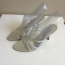 Womens The Touch of Nina Silver Bejeweled Low Slider Mule Heels size 10M