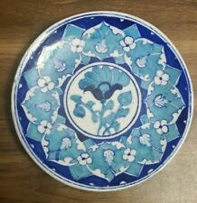 Vintage Jaipur Blue Pottery Plate, light Blue, White & Dark Blue Painted Design