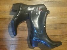 Capelli Women's Rain Tall Cowboy Boots Size 8 Black Rubber Pull On Waterproof