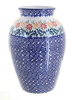 Blue Rose Polish Pottery Garden Bouquet Large Vase