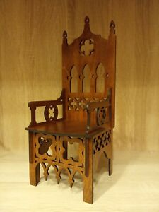 Gothic throne chair for Dolls 1/12 scale Furniture OOAK  v5