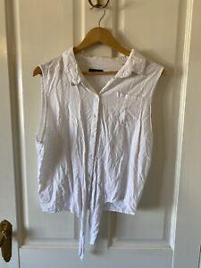 COTTON ON Size XL white Sleeveless Tie Up Shirt