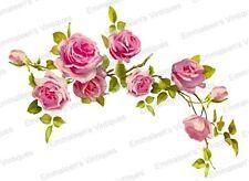 Vintage Image Victorian Shabby Pink Rose Swag Vine Waterslide Decals FL360